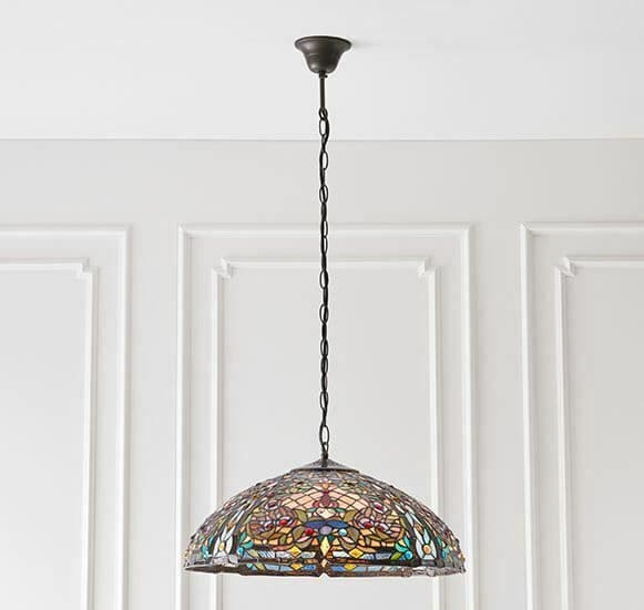 Anderson Large 3 light pendant tiffany glass & dark bronze finish